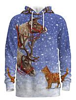 cheap -Daddy and Me Basic Cat 3D Print Animal Print Long Sleeve Regular Hoodie & Sweatshirt Blue