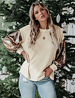 cheap -Women's Blouse Shirt Color Block Long Sleeve Sequins Patchwork Round Neck Tops Basic Basic Top Black Camel Beige