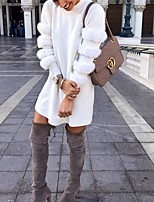 cheap -Women's Shift Dress Short Mini Dress - Long Sleeve Solid Color Patchwork Fall Winter Casual Loose 2020 White S M L XL