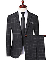 cheap -Tuxedos Tailored Fit Notch Single Breasted One-button Polyester Grid / Plaid Patterns