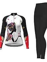 cheap -Women's Long Sleeve Cycling Jersey with Tights Black / Yellow Red Fuchsia Novelty Bike Breathable Quick Dry Moisture Wicking Sports Novelty Mountain Bike MTB Road Bike Cycling Clothing Apparel