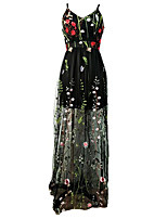cheap -Women's Strap Dress Maxi long Dress - Sleeveless Floral Embroidered Spring Off Shoulder Elegant Party 2020 Black S M L XL