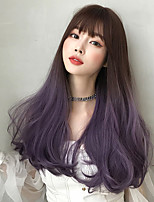cheap -Synthetic Wig Curly With Bangs Wig Very Long Purple Synthetic Hair 22 inch Women's Soft Classic Fluffy Purple