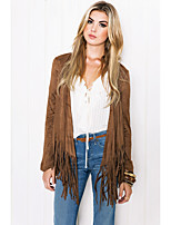 cheap -Women's Open Front Coat Long Solid Colored Daily Basic Tassel Fringe Brown S M L XL