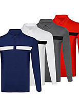 cheap -Men's Golf Polo Shirts Long Sleeve Autumn / Fall Spring Winter UV Sun Protection Breathable Quick Dry Cotton White Red Royal Blue Gray / Stretchy