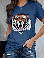 cheap -Women's T-shirt Animal Print Round Neck Tops Basic Basic Top Blue Gray