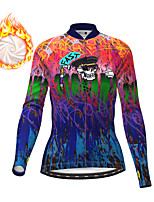cheap -21Grams Women's Long Sleeve Cycling Jacket Winter Fleece Dark Blue Skull Bike Jacket Top Mountain Bike MTB Road Bike Cycling Fleece Lining Warm Sports Clothing Apparel / Micro-elastic
