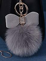 cheap -fluffy ball key chain 8-10cm cute keychain bag charm ball fur key chain for car key ring (grey)