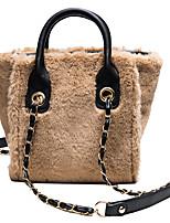 cheap -Women's Bags Faux Fur / Velvet Top Handle Bag Chain for Daily / Holiday White / Black / Blushing Pink / Khaki