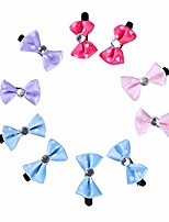 cheap -pet hair clips, 10pcs lovely dog puppy cat bow hairpin cute pet hair clips grooming accessories, cloth + metal - mix-color