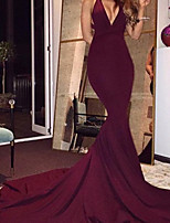 cheap -Mermaid / Trumpet Beautiful Back Sexy Wedding Guest Formal Evening Dress V Neck Sleeveless Court Train Spandex with Sleek 2020