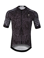 cheap -CAWANFLY Men's Short Sleeve Cycling Jersey Black Bike Jersey Top Mountain Bike MTB Road Bike Cycling Quick Dry Sports Clothing Apparel / Stretchy