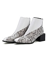 cheap -Women's Boots Block Heel Pointed Toe Casual Daily Solid Colored PU Booties / Ankle Boots White / Black / Brown