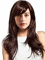 cheap -Human Hair Blend Wig Long Curly With Bangs Brown Women Adorable Fashion Capless Women's Brown