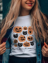 cheap -Women's Halloween T-shirt Graphic Prints Letter Pumpkin Print Round Neck Tops 100% Cotton Basic Halloween Basic Top White