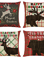cheap -Set of 4 Retro Xmas Linen Square Decorative Throw Pillow Cases Sofa Cushion Covers 18x18