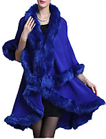cheap -helan women's faux fox fur double layers shawl cloak cape coat blue