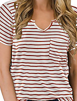 cheap -Women's Blouse Shirt Striped V Neck Tops Basic Basic Top Black Red Green