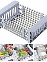 cheap -expandable dish drying rack over sink stainless steel adjustable dish basket drainer with telescopic arms functional kitchen sink organizer for vegetable, fruit and tableware (1pack)
