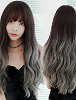 cheap -Synthetic Wig Curly With Bangs Wig Very Long Light Brown Brown Grey Black Chocolate Synthetic Hair 26 inch Women's Classic Ombre Hair Exquisite Black