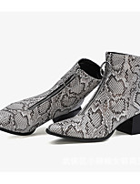cheap -Women's Boots Block Heel Pointed Toe Casual Basic Daily PU Mid-Calf Boots Walking Shoes Black / White / Black / Silver
