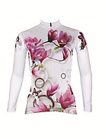cheap -Malciklo Women's Long Sleeve Cycling Jersey Violet Red / White Red / Yellow Tropical Flowers Bike Thermal Warm Warm Sports Graphic Mountain Bike MTB Road Bike Cycling Clothing Apparel / Micro-elastic