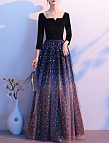 cheap -A-Line Glittering Minimalist Wedding Guest Formal Evening Dress Scoop Neck Long Sleeve Floor Length Tulle Velvet with Sequin 2020