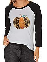 cheap -leopard pumpkin tshirt women& #39;s fall pumpkin graphic 3/4 sleeve raglan shirt thanksgiving splicing baseball tee tops size s & #40;black& #41;