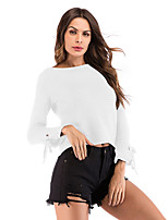 cheap -Women's Blouse Shirt Solid Colored Long Sleeve Lace up Patchwork Round Neck Tops Loose Basic Basic Top White Black Blue / Crop