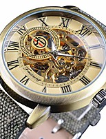 cheap -men's watch, mechanical stainless steel skeleton steampunk design automatic hand winding roman numeral wrist watch