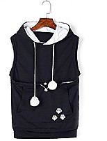 cheap -womens sleeveless hoodies pet holder kitten dog kangaroo pouch carriers pullover l navy blue