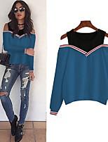 cheap -Women's Daily Pullover Sweatshirt Solid Colored Plain Basic Hoodies Sweatshirts  Loose Blue