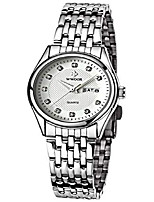 cheap -women fashion watch casual business quartz watch stainless steel waterproof date and week dress watches (white)