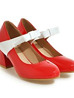 cheap -Women's Heels Pumps Round Toe Sweet Daily Bowknot Color Block PU Walking Shoes Black / Red