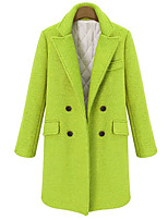 cheap -Women's Fall & Winter Coat Long Solid Colored Daily Basic Wool Black Green S M L XL