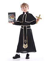 cheap -Priestess Cosplay Costume Party Costume Kid's Boys' Cosplay Halloween Halloween Festival / Holiday Polyester Black Easy Carnival Costumes / Leotard / Onesie / Leotard / Onesie