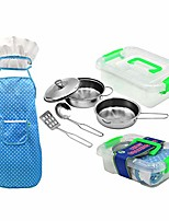 cheap -kitchen pretend play accessories toys, 8 pcs pretend toys with stainless steel cookware pots and pans set, cooking utensils, apron & chef hat, and grocery play food for kids (as show)