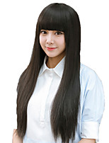 cheap -Synthetic Wig Straight Natural Straight Neat Bang Wig Very Long Black Synthetic Hair 28 inch Women's Classic Adorable Wedding Black