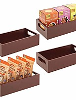 cheap -bamboo wood compact food storage bin with handle for kitchen cabinet, pantry, shelf to organize seasoning packets, powder mixes, spices, packaged snacks - 4 pack - espresso brown