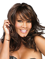 cheap -Synthetic Wig Curly Asymmetrical With Bangs Wig Long Brown Synthetic Hair Women's Fashionable Design Highlighted / Balayage Hair Fluffy Brown