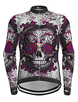 cheap -21Grams Men's Long Sleeve Cycling Jersey Purple Skull Bike Jersey Top Mountain Bike MTB Road Bike Cycling Quick Dry Sports Clothing Apparel / Micro-elastic