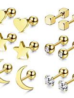 cheap -6 pairs stainless steel ball stud earrings for men women cz cartilage helix ear piercing