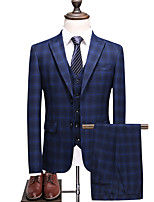 cheap -Tuxedos Tailored Fit Notch Single Breasted Two-buttons Polyester Plaid / Check / Classic
