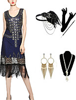 cheap -The Great Gatsby Vintage 1920s Vacation Dress Flapper Dress Outfits Masquerade Women's Tassel Fringe Costume Blue Vintage Cosplay Party Prom / Gloves / Headwear / Necklace / Bracelets & Bangles