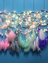 cheap -Wall Dreamcatcher Led Handmade Feather Dream Catcher Braided Wind Chimes Art For room decoration Hanging home decor Decoration