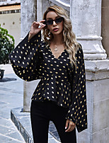 cheap -Women's Going out Blouse Shirt Polka Dot Long Sleeve Print V Neck Tops Slim Elegant Boho Basic Top Black