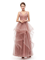 cheap -A-Line Elegant Vintage Prom Formal Evening Dress V Neck Sleeveless Floor Length Tulle with Beading Appliques 2020