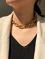 cheap -Women's Choker Necklace Chain Necklace Handmade Friends Vertical / Gold bar Precious Joy Lucky Simple Luxury Punk Trendy Alloy Gold 38 cm Necklace Jewelry 1pc For Sport Gift Prom Street Festival