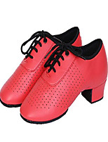 cheap -girl's leather lace-up dancing latin shoes breathable dance shoes, red (5.5 m big kid / 37)