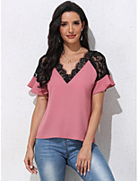 cheap -Women's T-shirt Solid Colored Lace Ruffle V Neck Tops Basic Basic Top Blushing Pink